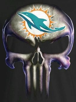 2 Miami Dolphins Waterproof Vinyl Punisher Skull Stickers Ca