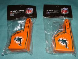 2 PIECES LOT = NFL MIAMI DOLPHINS = Mini Foam Finger Antenna