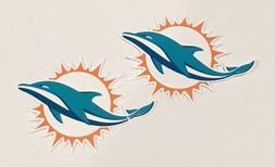 2x Miami Dolphins Car Bumper Laptop Window Truck Vinyl Die C
