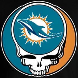 3 Miami Dolphins Grateful Dead 3x3 Waterproof Vinyl Stickers