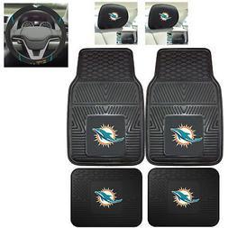 7pc NFL Miami Dolphins Heavy Duty Rubber Floor Mats & Steeri