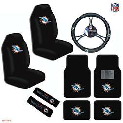9pcs Set NFL Miami Dolphins Seat Covers Floor Mats Steering