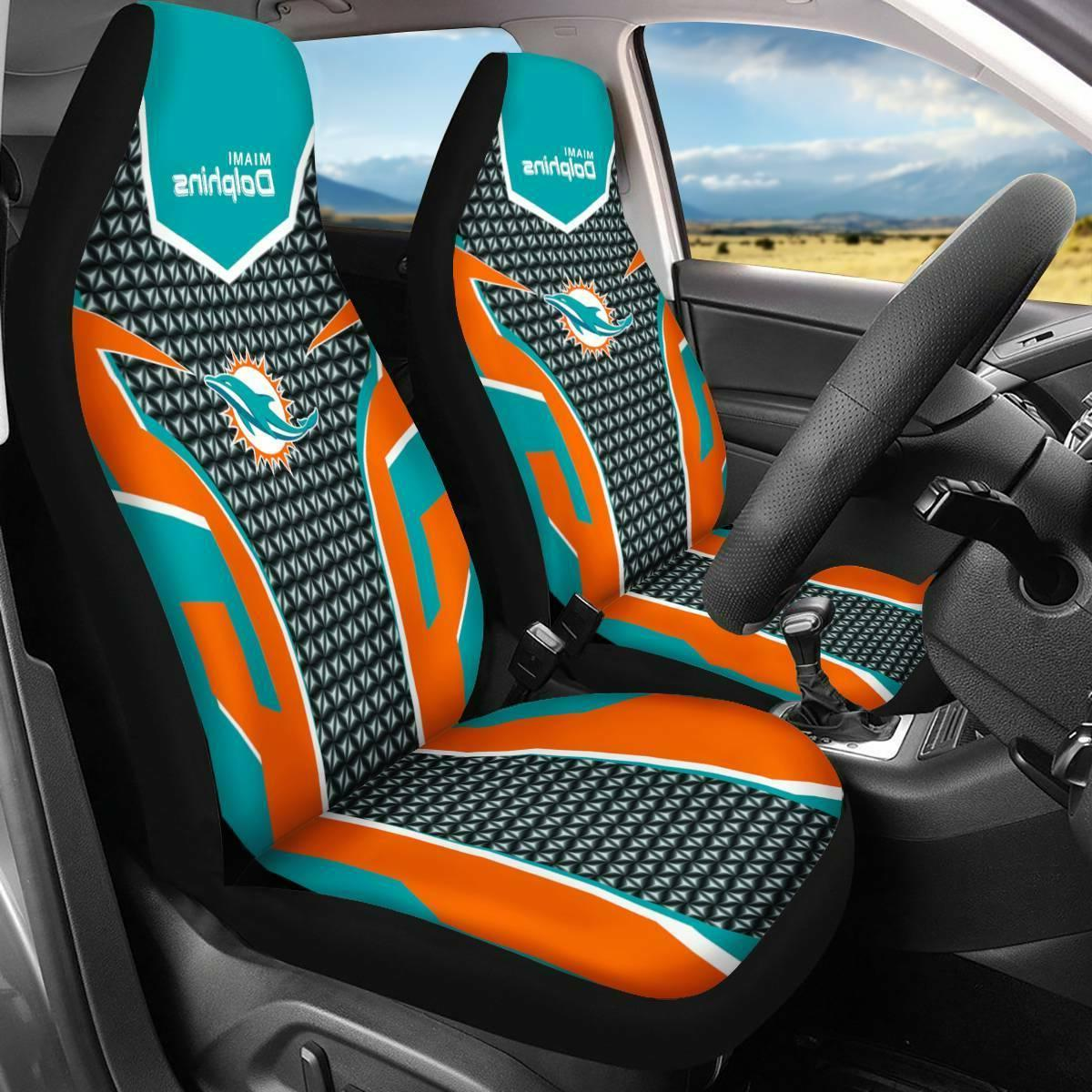 Set of Two Miami Dolphins Car Seat Cover Universal Fit Auto