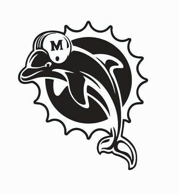 miami dolphins vinyl die cut car sticker