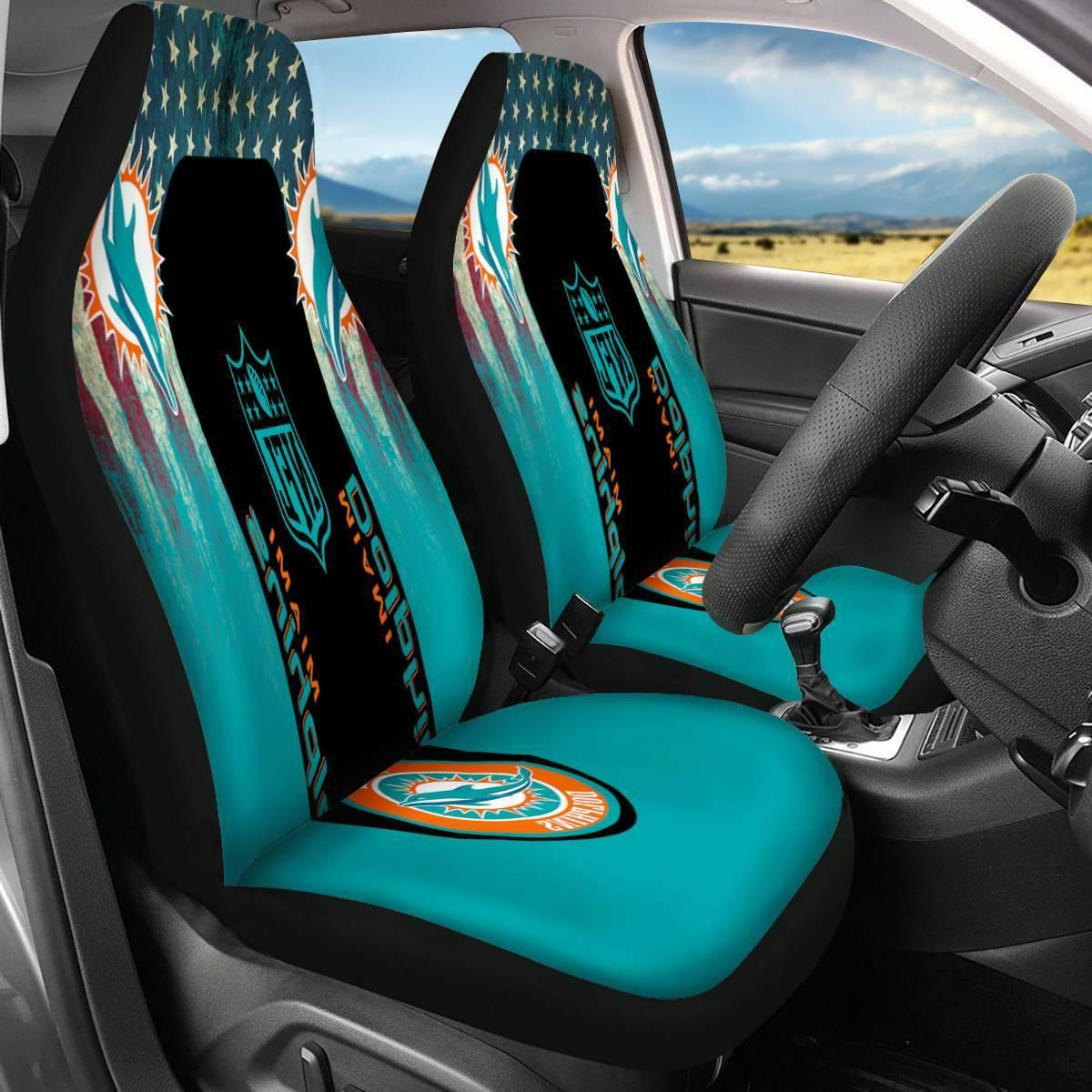 Set of Two Miami Dolphins Car/Pickup truck Seat Covers Unive