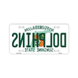 Metal Vanity License Plate Tag Cover - Miami Dolphins - Foot