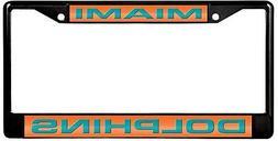 Miami Dolphins BLACK Premium LASER FRAME Metal License Plate