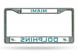 Miami Dolphins Chrome Frame Metal License Plate Tag Cover Fo