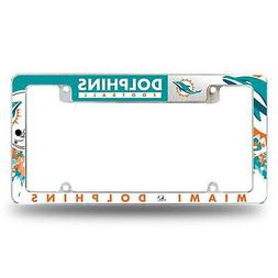 Miami Dolphins Chrome License Plate Frame All Over Tag Cover