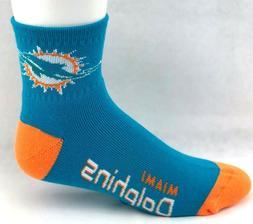Miami Dolphins Football Deuce Quarter Socks Aqua with Filled