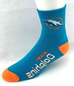 Miami Dolphins Football  Deuce Quarter Socks Turquoise with