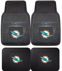 Miami Dolphins Heavy Duty Floor Mats 2 & 4 Pc Sets for Car T