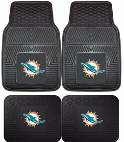 Miami Dolphins Heavy Duty NFL Floor Mats 2 & 4 pc Sets for C