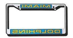 Miami Dolphins LASER FRAME Chrome Metal License Plate Cover
