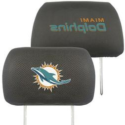 MIAMI DOLPHINS NFL 2-PACK UNIVERSAL MESH HEAD REST COVERS NE