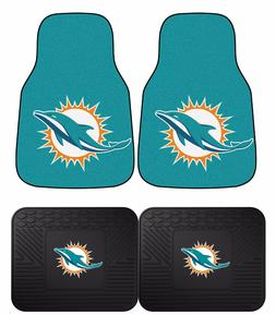 Miami Dolphins NFL Floor Mats 2 & 4 pc Sets for Cars Trucks