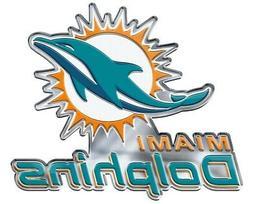 Miami Dolphins Premium Die Cut Metal Color Auto Emblem Chrom