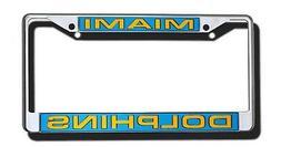 Miami Dolphins Premium LASER FRAME Chrome Metal License Plat
