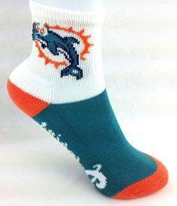 Miami Dolphins Teal Orange and White Block Quarter Kids Sock
