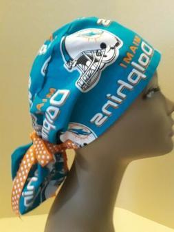 Miami Dolphins Women's Ponytail Surgical Scrub Hat/Cap Handm