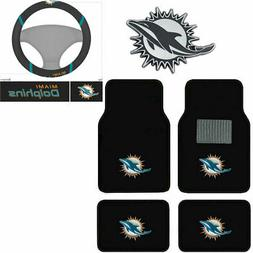 New NFL Miami Dolphins Car Truck Floor Mats Steering Wheel C
