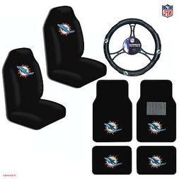 NFL Miami Dolphins Car Truck Seat Covers Floor Mats Steering