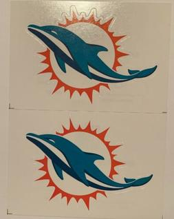NFL Miami Dolphins Lot of 2 Football Indoor Decal Stickers