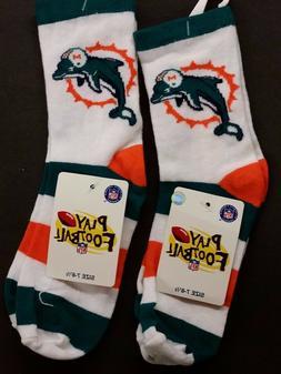 NFL Youth Socks, Size: 7-8 1/2, Miami Dolphins #1-2